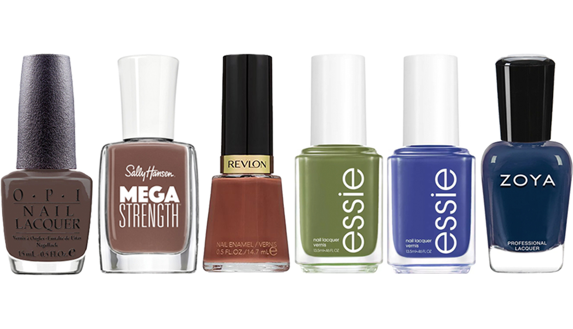 item 6, Gallery image. (Left to right) OPI You Don't Know Jacques! Nail Lacquer; Sally Hansen Mega Strength Nail Polish in Sheriously Strong; Revlon Nail Enamel in Totally Toffee; Essie Fall 2020 Heart of the Jungle Nail Polish; Essie Fall 2020 Waterfall in Love Nail Polish; Zoya Nail Lacquer in Elliott