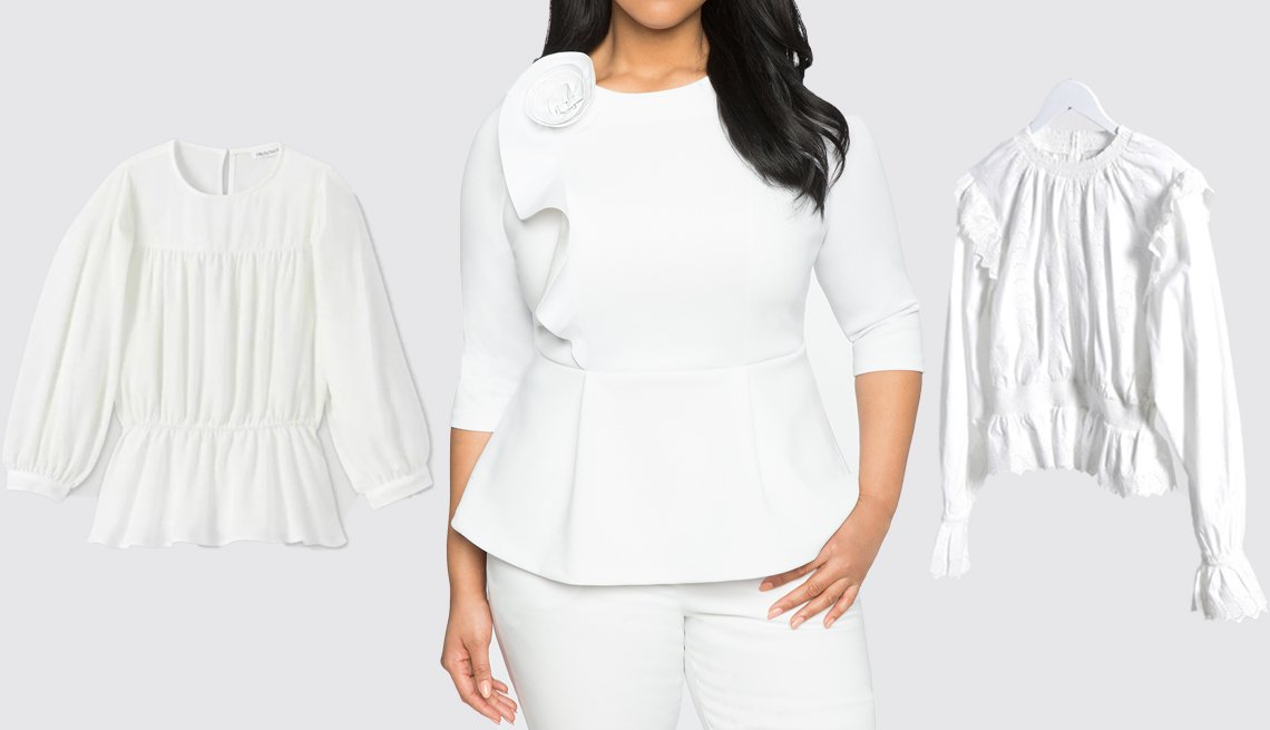 item 7, Gallery image. (Left to right) Prologue Women's Bishop Long Sleeve Shirred Waist Top; Eloquii Rosette Ruffle Peplum Top in White; Topshop at Asos Shirred Embroidered Blouse in White