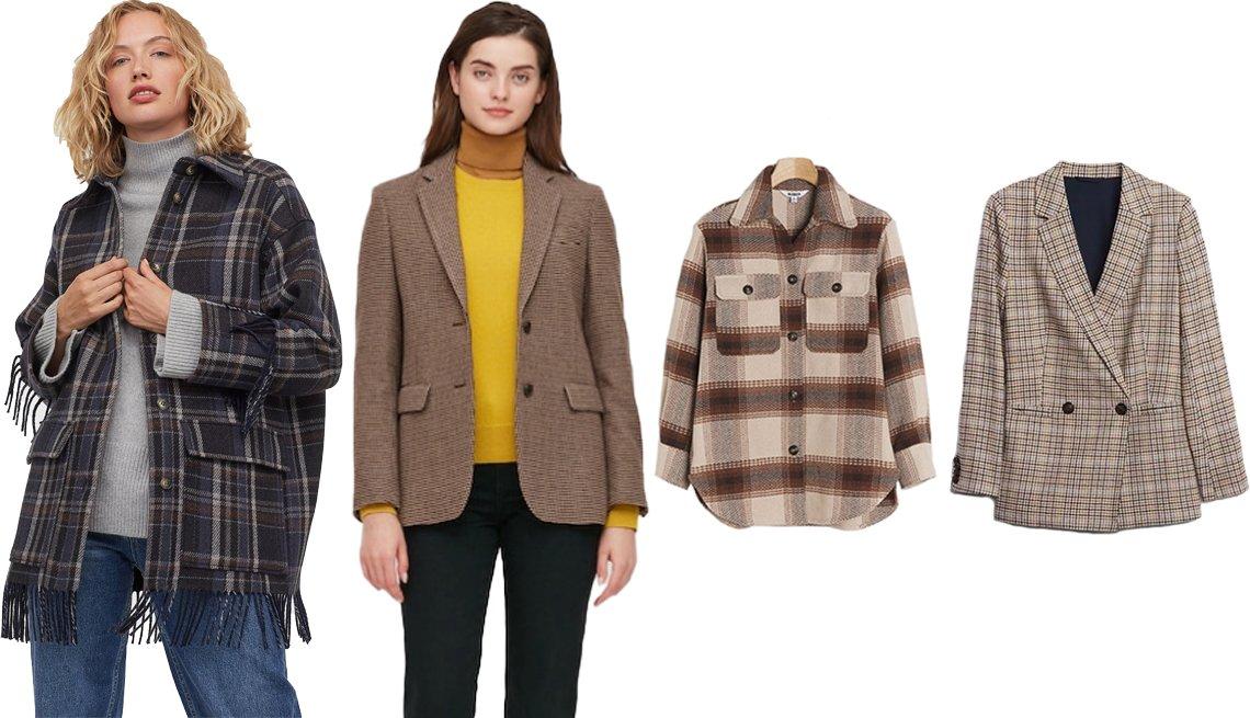 item 3, Gallery image. (Left to right) H&M Fringed Shacket; Uniqlo Women Tweed Blazer in 37 Brown; BB Dakota Darren Plaid Shirt Jacket in Brown Motif; Gap Double-Breasted Blazer in Brown Plaid