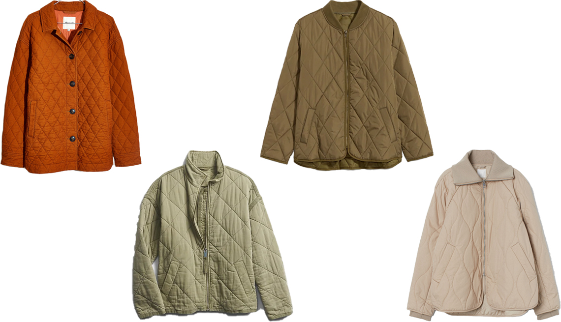 item 7, Gallery image. Madewell Quilted Corduroy Walton Shirt-Jacket in Golden Pecan (top left); Gap Quilted Jacket in Olive Green (bottom middle left); Old Navy Diamond-Quilted Plus-Size Zip Jacket in Jurassic Green (top middle right); H&M Quilted Jacket in Beige (bottom right)