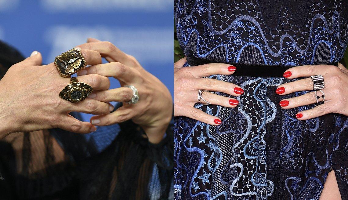 item 7 of Gallery image - Primer plano de las manos y los anillos de las actrices Salma Hayek (izquierda) y Jane Krakowski (derecha).