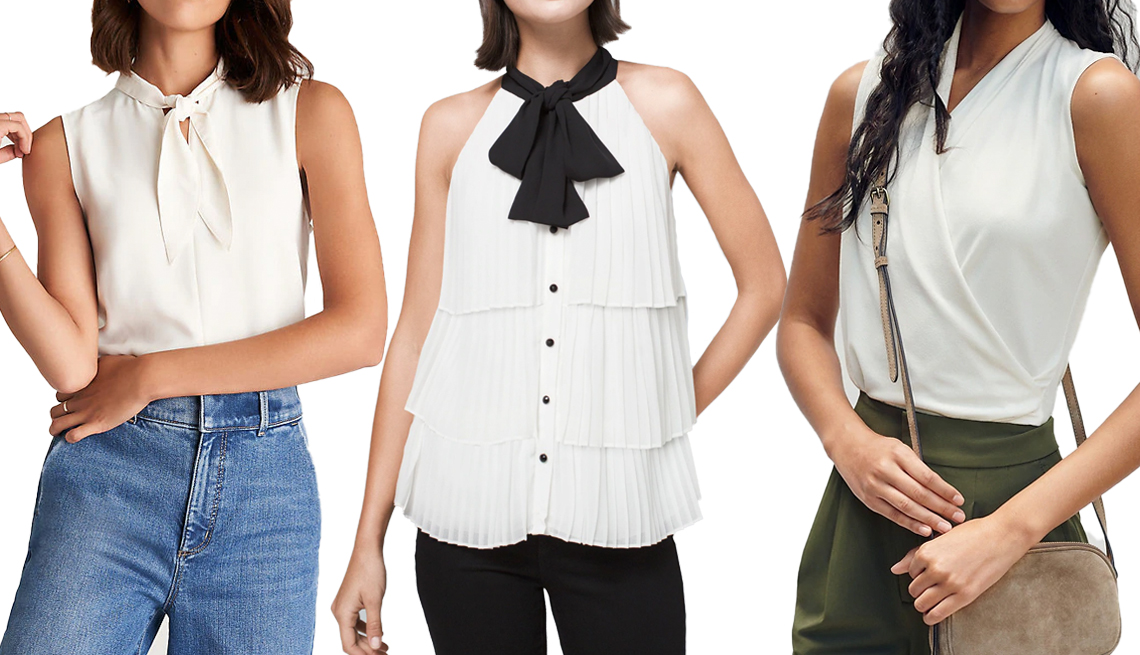 item 10 of Gallery image - Ann Taylor Mixed Media Tie-Neck Shell in Winter White; White House Black Market Bow-Neck Pleated Blouse in Ecru; Banana Republic Wrap-Effect Top in Cream