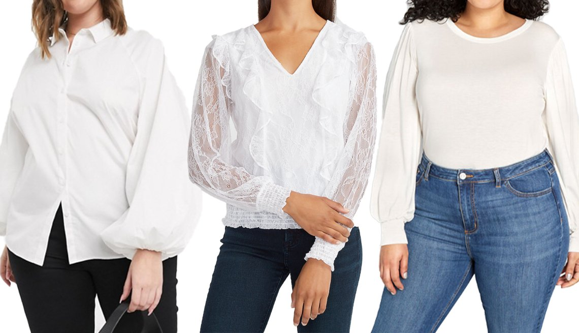 item 5, Gallery image. (Left to right) Asos Design Curve Long Volume Sleeve Shirt in Cotton; Express Lace Ruffle Front V-Neck Top; Modcloth Beyond Basic Long Sleeve Top