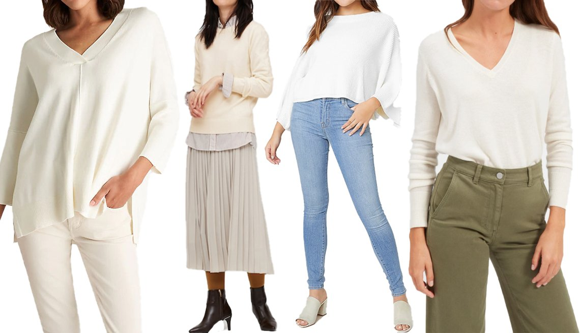 item 11, Gallery image. (Left to right) Ann Taylor Easy V-Neck Sweater in Winter White; Uniqlo Women Cashmere Crew Neck Sweater in 01 Off White; BB Dakota for Express Long Sleeve Oversized Pullover Knit Sweater in Ivory; Everlane The Cashmere V-Neck in Ivory