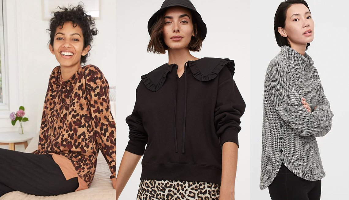 item 3, Gallery image. (Left to right) Stars Above Women's Tortoise Print Beautifully Soft Fleece Lounge Tunic Sweatshirt; H&M Collared Sweatshirt; GapFit Mockneck Jacquard Pullover Sweatshirt in Marled Black