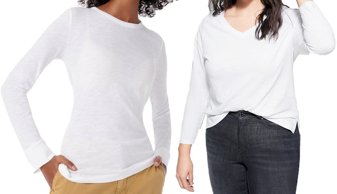 item 8, Gallery image. J. Crew Vintage Cotton Crewneck Long-Sleeve T-Shirt (left) and Violeta by Mango Committed Organic Cotton T-Shirt in White
