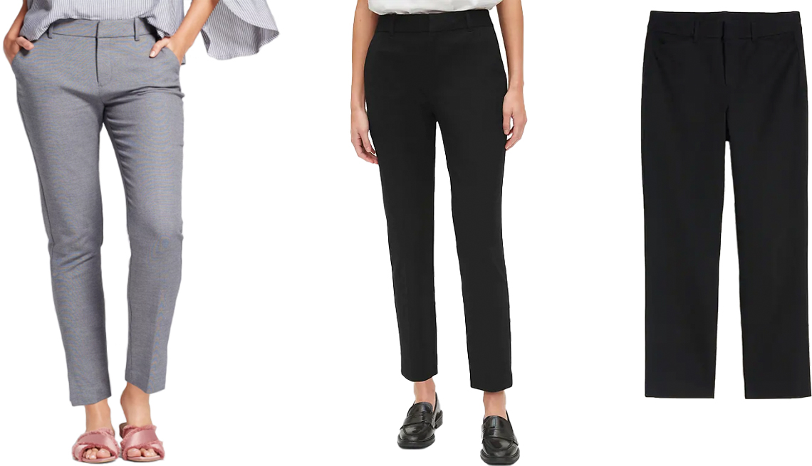 item 5, Gallery image. (Left to right) A New Day Women's Straight Leg Slim Ankle Pants; Gap High Rise Slim Ankle Pants in True Black; Old Navy All-New High-Waisted Pixie Straight-Leg Ankle Pants for Women in Black Jack