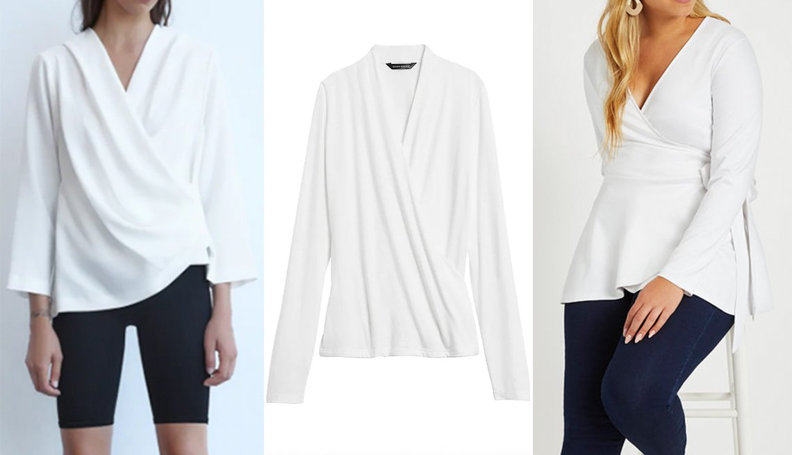 item 3, Gallery image. (Left to right) Zara Wrap Front Blouse; Banana Republic Threadsoft Wrap Top; Eloquii Peplum Wrap Top