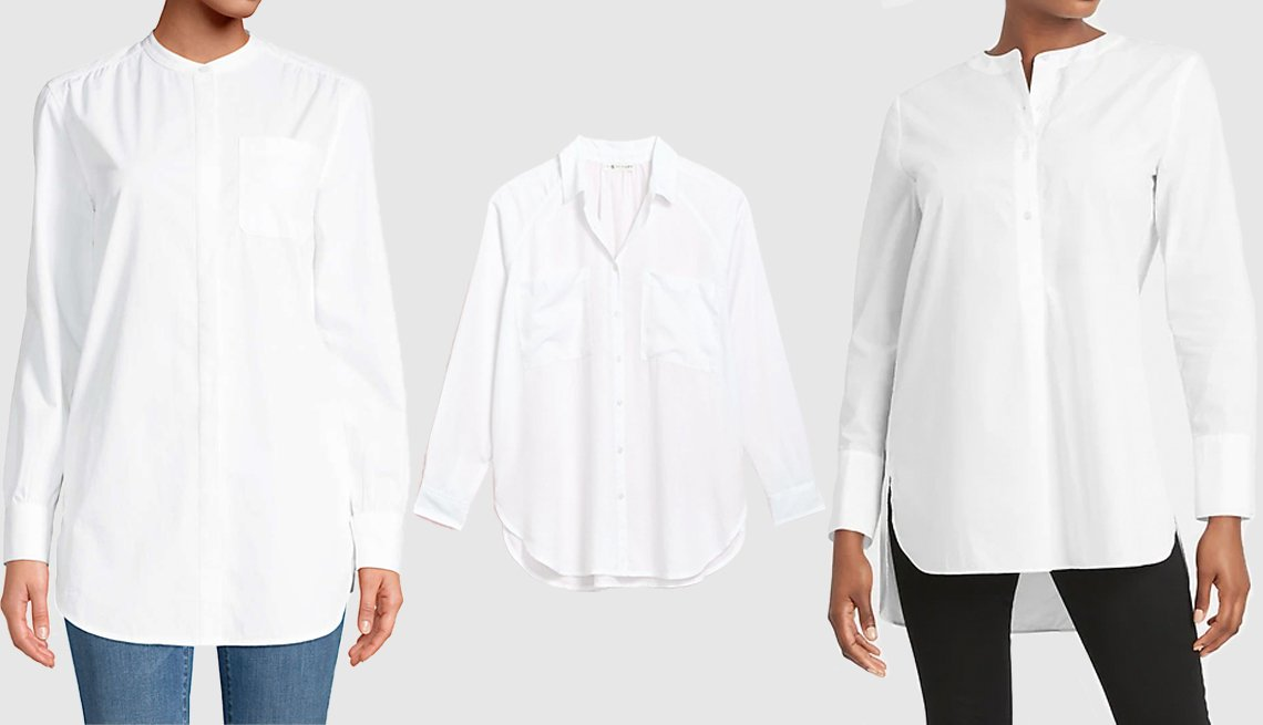 item 9, Gallery image. (Left to right) Lands' End Women's Cotton A-Line Long Sleeve Tunic Top; Lou & Grey Fluid Twill Pocket Tunic Shirt; Banana Republic Poplin Tunic
