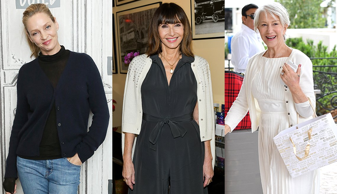item 2 of Gallery image - Side by side images of Uma Thurman Mary Steenburgen and Helen Mirren each wearing a cardigan