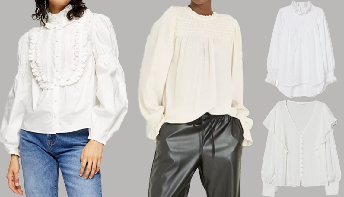 item 1, Gallery image. Topshop White Victoriana Puff Sleeve Top (left); A New Day Women's Long Sleeve Smocked Blouse (middle); H&M Embroidered-Detail Blouse (top right); H&M Flounce-Trimmed Blouse (bottom right)