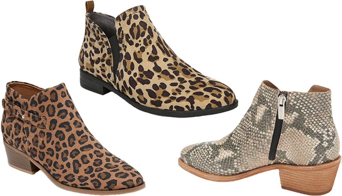 item 3, Gallery image. Old Navy Faux-Suede Side-Buckle Ankle Booties for women in leopard print (left); Dr. Scholl's Ramble Bootie in tan/black leopard print (top middle); Vince Camuto Arendara Bootie in natural snake print leather (right)