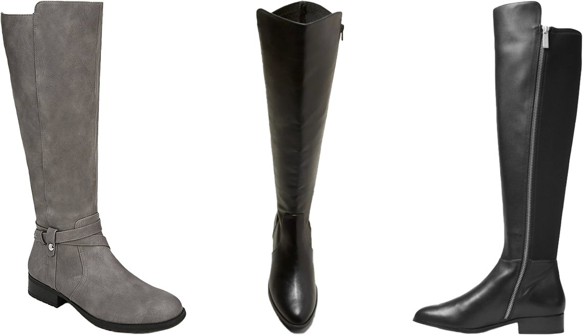 item 9, Gallery image. (Left to right) LifeStride Xtrovert Wide Calf Riding Boot in grey; A New Day Women's Carol Stretch Fashion Boots in black; MICHAEL Michael Kors Women's Bromley Leather & Stretch Tall Boots in black