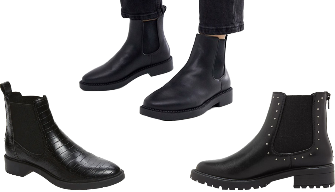 item 2, Gallery image. Treasure & Bond Gabriella Chelsea Boot (bottom left); Asos Design Auto Chunky Chelsea Boots in black (top middle); Universal Thread Women's Campbell Double Gore Studded Chelsea Boots (bottom right)
