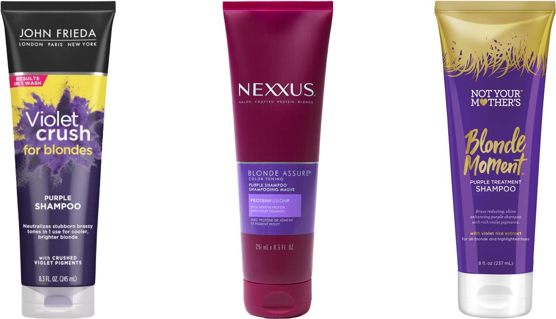 item 9 of Gallery image - John Frieda Violet Crush for Blondes Purple Shampoo; Nexxus Blonde Assure Purple Shampoo; Not Your Mother's Blonde Moment Purple Treatment Shampoo