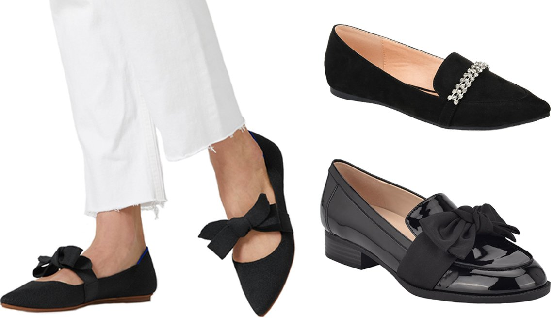 item 10, Gallery image. (Clockwise from top right) Journee Collection Women's Kyrah Loafer; Bandolino Lindio Women's Casual Bow Loafer; Rothy's The Mary Jane in black