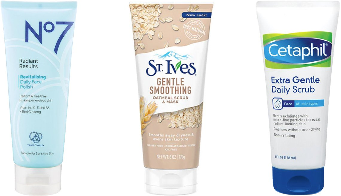 item 2, Gallery image. (Left to right) No7 Radiant Results Revitalizing Daily Face Polish; St. Ives Gentle Smoothing Oatmeal Scrub and Mask; Cetaphil Extra Gentle Daily Scrub