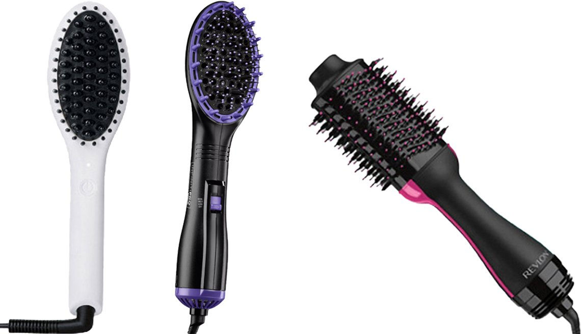 item 10, Gallery image. (Left to right) InStyler Straight Up Mini Ceramic Straightening Brush; InfinitiPro by Conair Dry & Style Hot Air Paddle Brush; Revlon One-Step Volumizer Hair Dryer