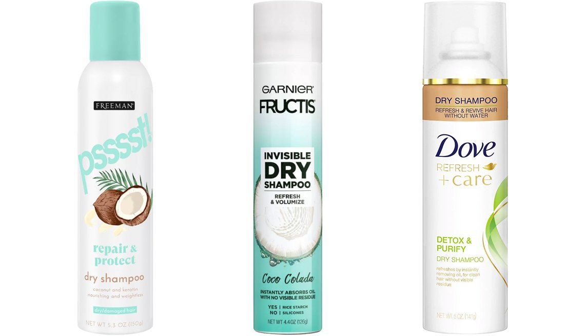 item 4, Gallery image. (Left to right) Freeman Psssst! Instant Dry Shampoo Spray for Dry/Damaged Hair; Garnier Fructis Invisible Dry Shampoo Coco Colada; Dove Detox & Purify Dry Shampoo