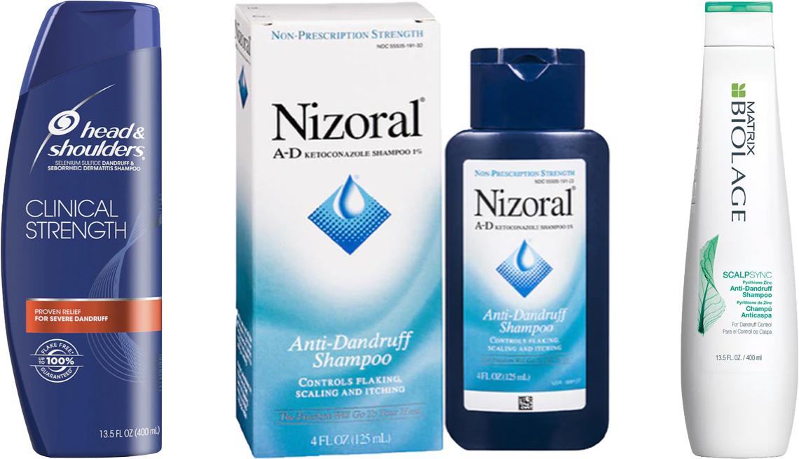 item 6 of Gallery image - (De izquierda a derecha) Head & Shoulders Clinical Strength Anti-Dandruff Shampoo; Nizoral Anti-Dandruff Shampoo; Matrix Biolage Scalpsync Anti-Dandruff Shampoo