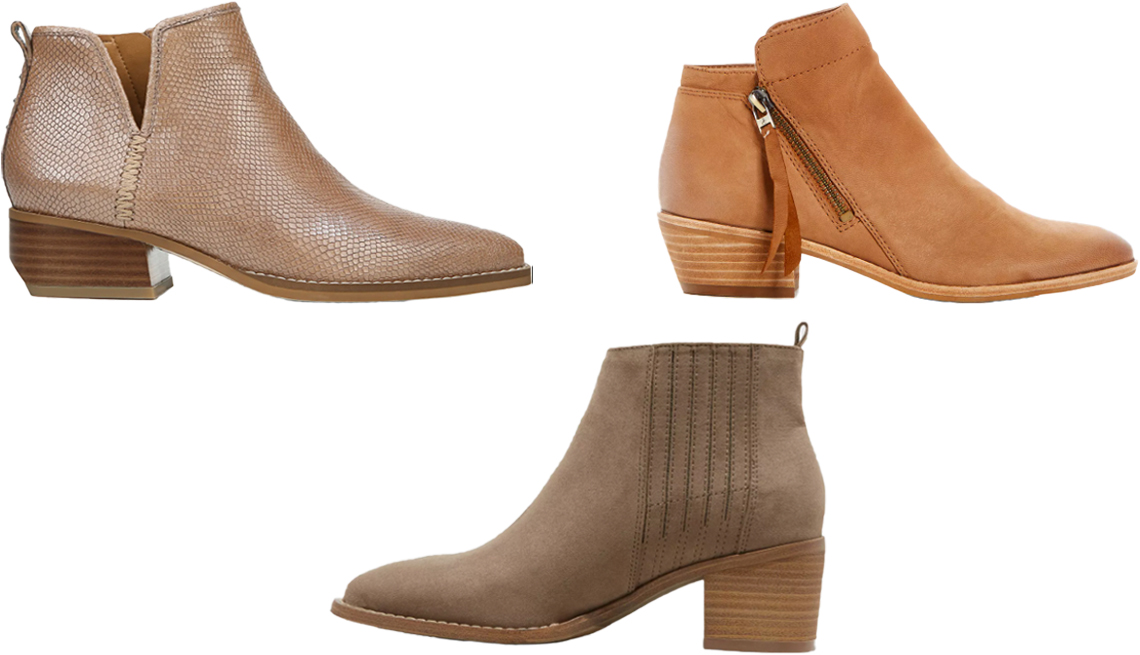 item 4, Gallery image. (Clockwise from top left) Sarto by Franco Sarto Asti Bootie in taupe snake print leather; Sam Edelman Women's Packer Leather Low Heel Booties in saddle; Universal Thread Women's Briar Block Heeled Booties in brown