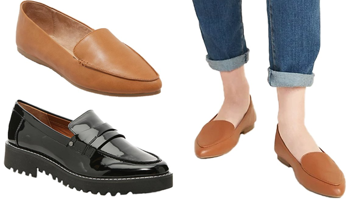 item 5, Gallery image. A New Day Women's Micah Pointed Toe Closed Loafers in cognac (top left); Franco Sarto Cassandra Penny Loafer in black (bottom left); Old Navy Faux Leather Pointy-Toe Loafers for Women in cognac brown (right)