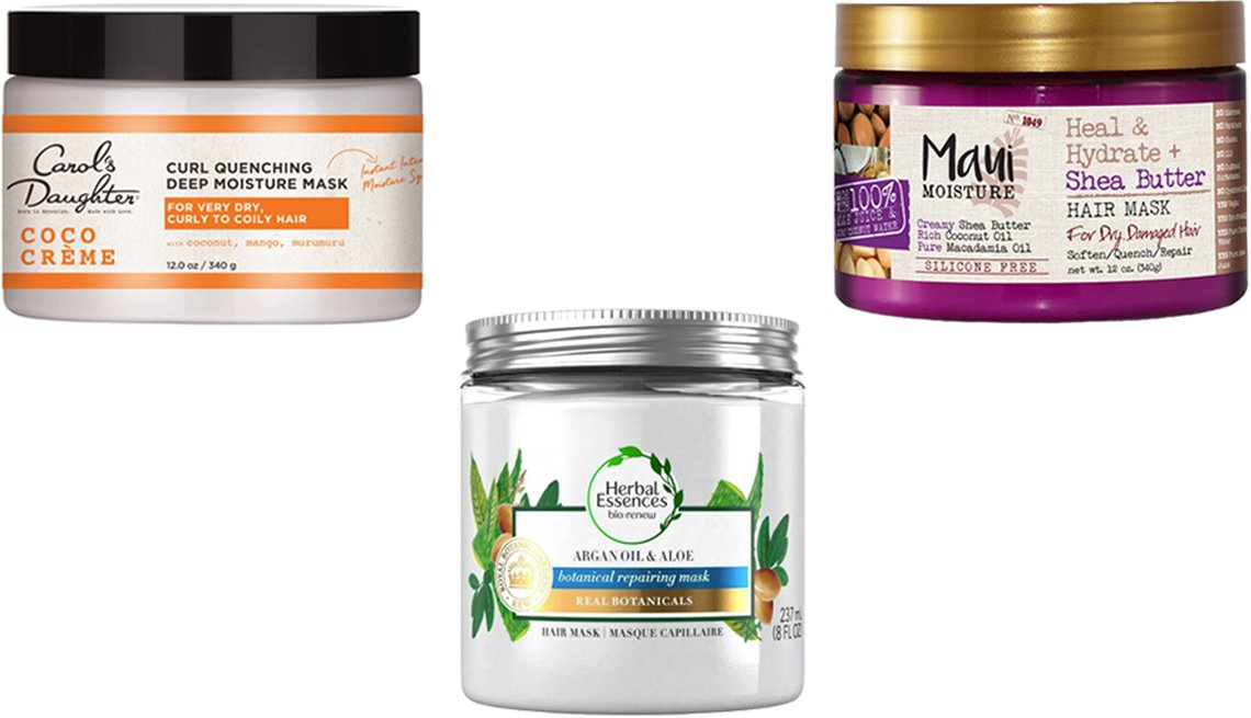 item 5, Gallery image. (Clockwise from top left) Carol's Daughter Coco Crème Curl Quenching Deep Moisture Mask; Maui Moisture Heal & Hydrate + Shea Butter Hair Mask; Herbal Essences Bio:Renew Argan Oil & Aloe Repairing Hair Mask for Dry Damaged Hair