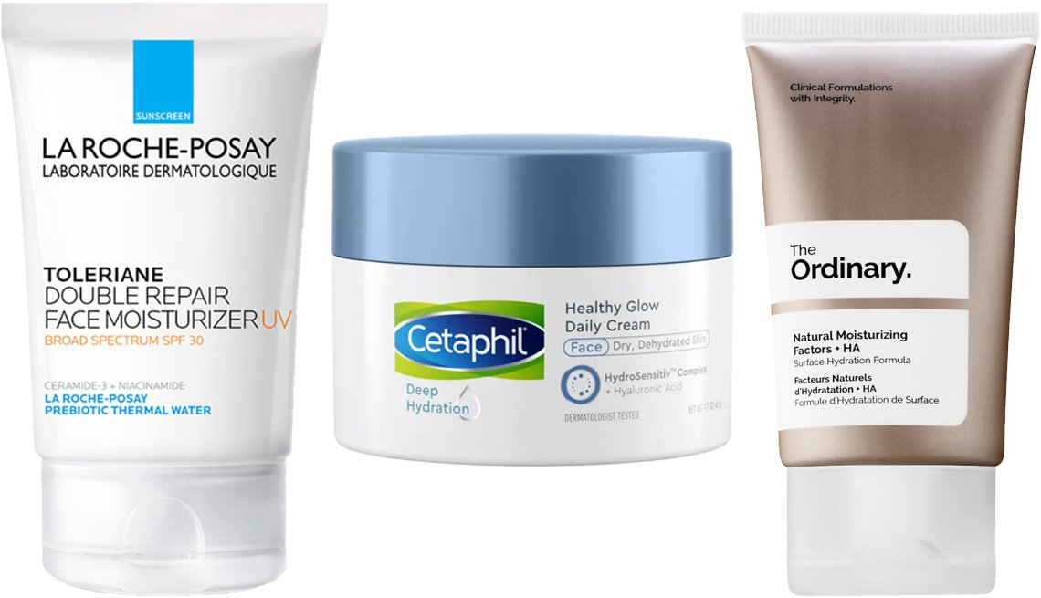 item 7, Gallery image. (Left to right) La Roche-Posay Double Repair Face Moisturizer; Cetaphil Deep Hydration Healthy Glow Daily Cream; The Ordinary Natural Moisturizing Factors + HA
