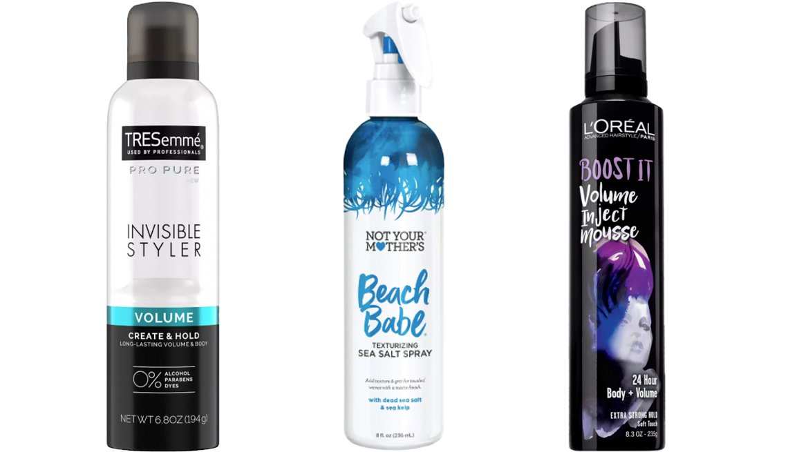item 8, Gallery image. (Left to right) TRESemmé Pro Pure Invisible Styler Volume Hair Styling Spray; Not Your Mother's Beach Babe Texturizing Sea Salt Spray; L'Oréal Paris Advanced Hairstyle Boost It Volume Inject Mousse