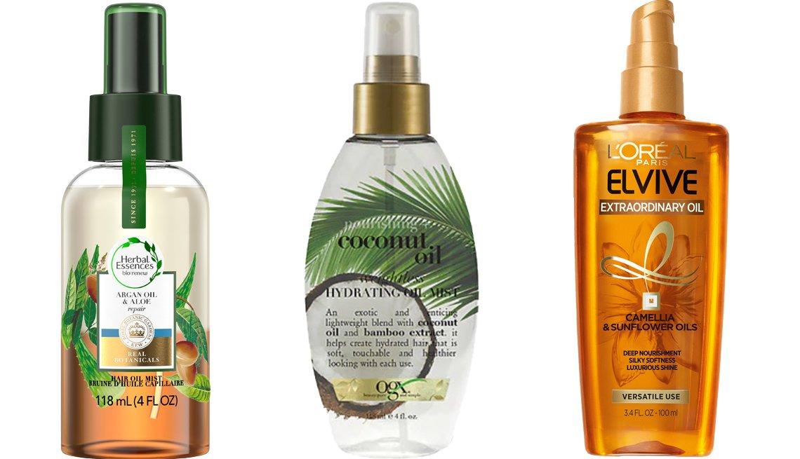 item 6 of Gallery image - (De izq. a der.) Herbal Essences Bio:Renew Argan Oil & Aloe Hair Oil Mist; OGX Nourishing Coconut Oil Weightless Hydrating Oil Mist; L'Oréal Paris Elvive Extraordinary Oil.
