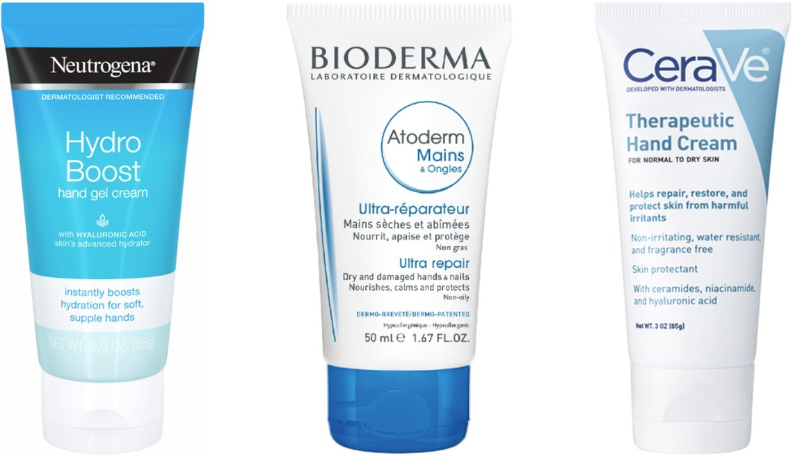 item 5, Gallery image. (Left to right) Neutrogena Hydro Boost Gel Hand Cream with Hyaluronic Acid; Bioderma Atoderm Hand & Nail Cream; CeraVe Therapeutic Hand Cream Skin Protectant
