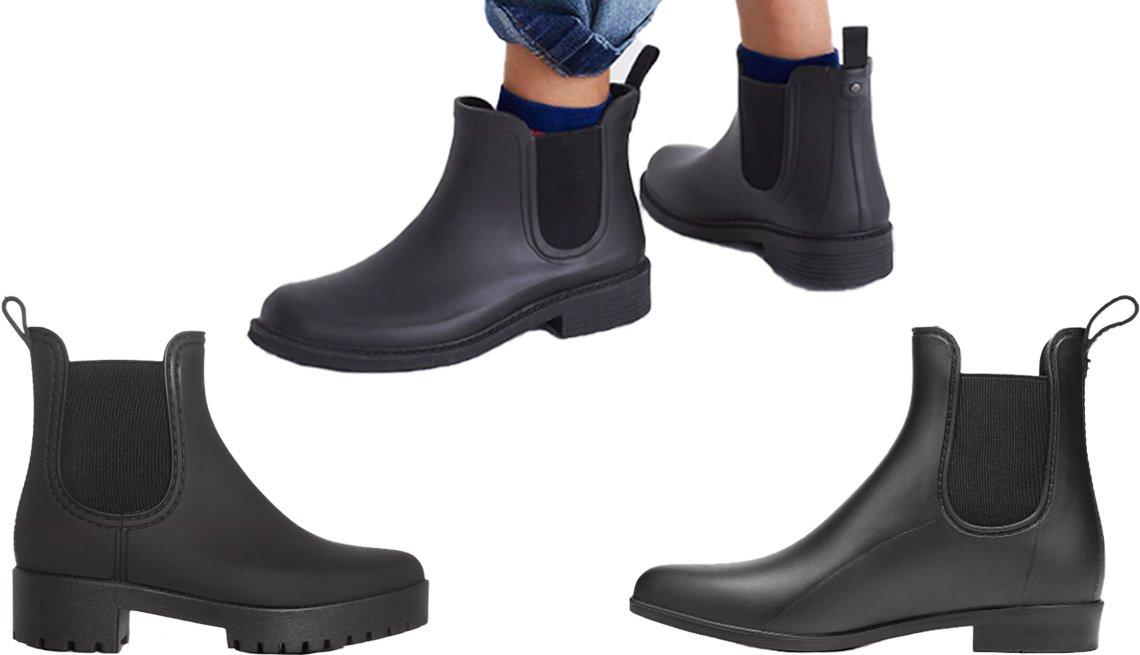 item 7, Gallery image. (Clockwise from left) Jeffrey Campbell Cloudy Rain Booties in black; Madewell Chelsea Rain Boot in true black; Sam Edelman Tinsley Matte Chelsea Rain Booties in black