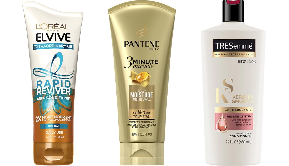 item 3, Gallery image. (Left to right) L'Oréal Paris Elvive Extraordinary Oil Rapid Reviver Deep Conditioner; Pantene Daily Moisture Renewal 3 Minute Miracle Daily Conditioner; TRESemmé Keratin Smooth Conditioner