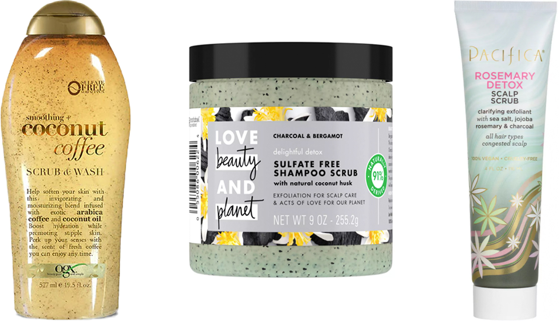 item 2 of Gallery image - OGX Smoothing Coconut Coffee Scrub & Wash; ove Beauty and Planet Delightful Detox Charcoal Shampoo Scrub; Pacifica Rosemary Detox Scalp Scrub
