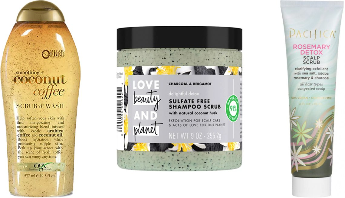 item 2, Gallery image. (Left to right) OGX Smoothing Coconut Coffee Scrub & Wash; Love Beauty and Planet Delightful Detox Charcoal Shampoo Scrub; Pacifica Rosemary Detox Scalp Scrub