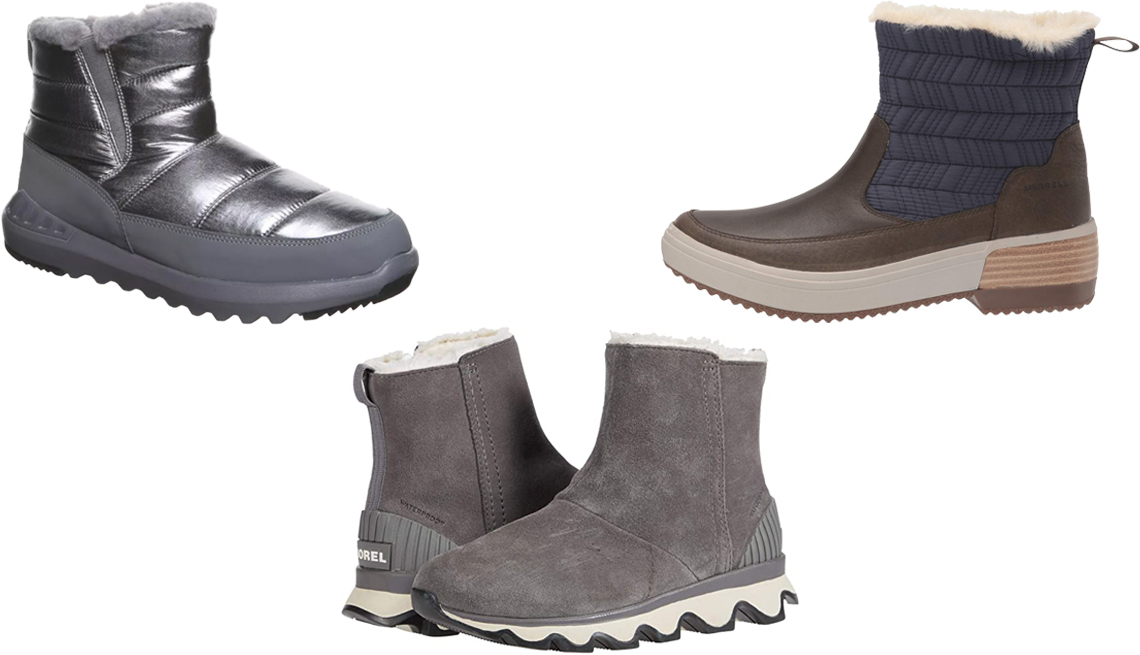 item 8, Gallery image. (Clockwise from top left) Bearpaw Puffy Boot Boots in pewter; Merrell Haven Bluff Polar Waterproof in peacoat; Sorel Kinetic Short in quarry/black