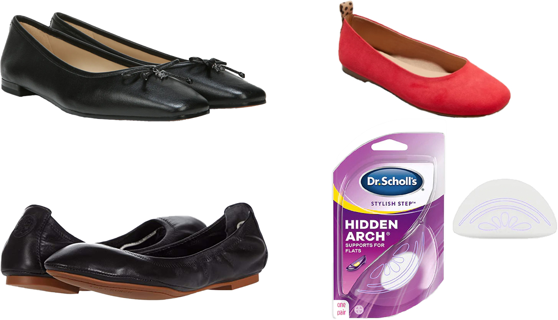 item 6, Gallery image. (Clockwise from bottom left) Tory Burch Eddie Ballet in perfect black; Sam Edelman Jillie Flat in black leather; Universal Thread Women's Blanca Ballet Flats in red; Dr. Scholl's Stylish Step Hidden Arch Support for Flats