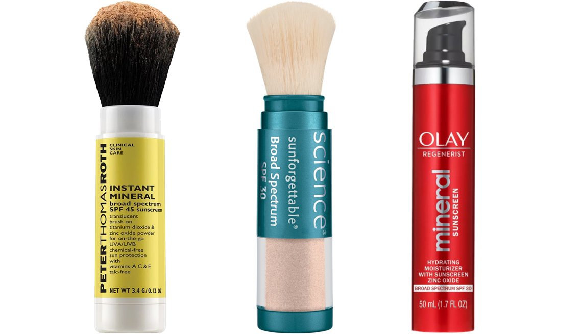 item 9, Gallery image. (Left to right) Peter Thomas Roth Instant Mineral Broad Spectrum SPF 45 Sunscreen; Colorescience Sunforgettable Brush-On Sunscreen; Olay Regenerist Mineral Sunscreen Hydrating Moisturizer SPF 30