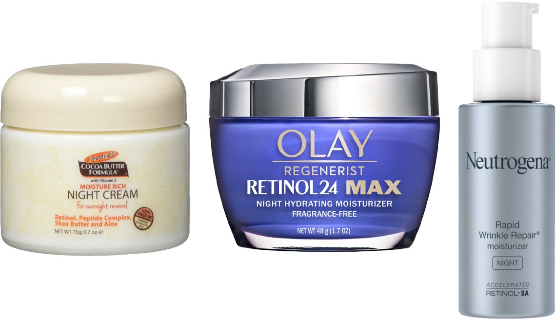 item 3, Gallery image. (Left to right) Palmer's Cocoa Butter Formula Night Renewal Cream; Olay Regenerist Retinol24 MAX Night Face Moisturizer; Neutrogena Rapid Wrinkle Repair Hyaluronic Acid Night Moisturizer with Retinol