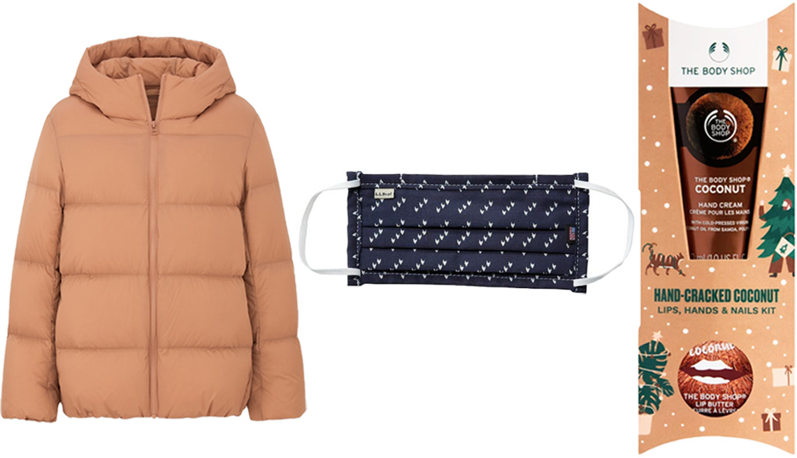 item 9, Gallery image. (Left to right) Uniqlo Women Ultra Light Down Cocoon Parka in 30 natural; L.L. Bean Adults Bandana Protective Face Cover in darkest navy birdseye; The Body Shop Hand-Cracked Coconut Lips, Hands & Nails Kit