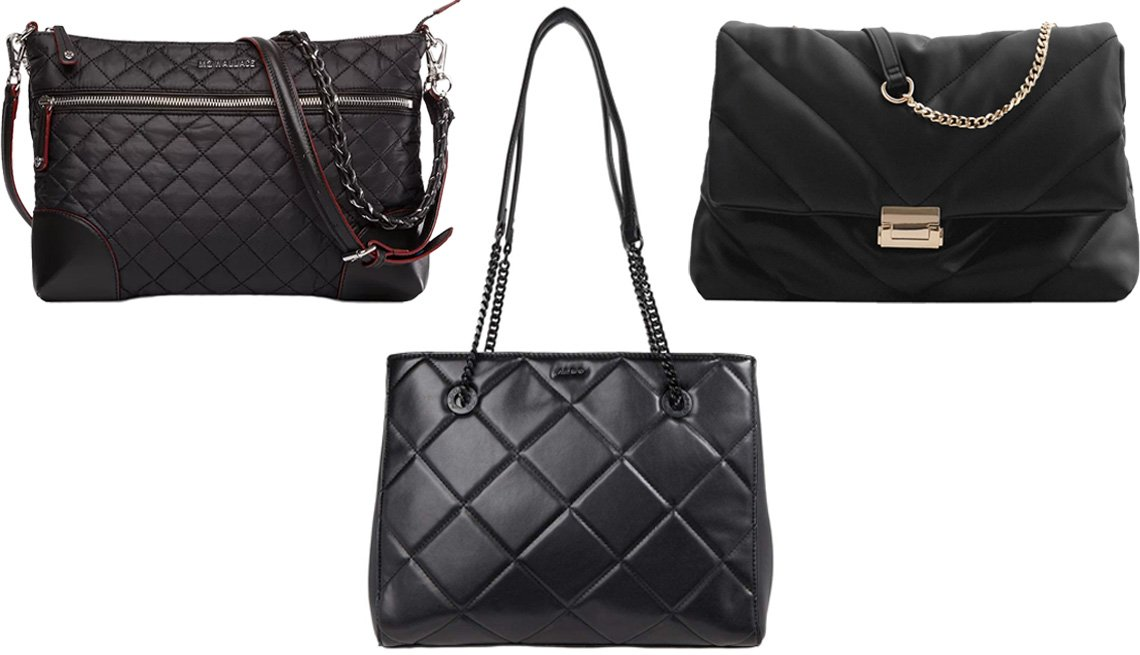 item 3, Gallery image. (Clockwise from top left) MZ Wallace Crosby Crossbody in black/silver; Zara Quilted Maxi Crossbody Bag in black; Aldo Cozette in other black