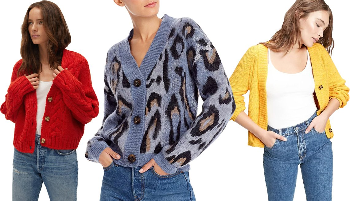 item 6, Gallery image. (Left to right) Mango Cable-Knit Cardigan in red; Aqua Leopard Cardigan Sweater in blue; Gap Textured Cardigan in sunshine yellow