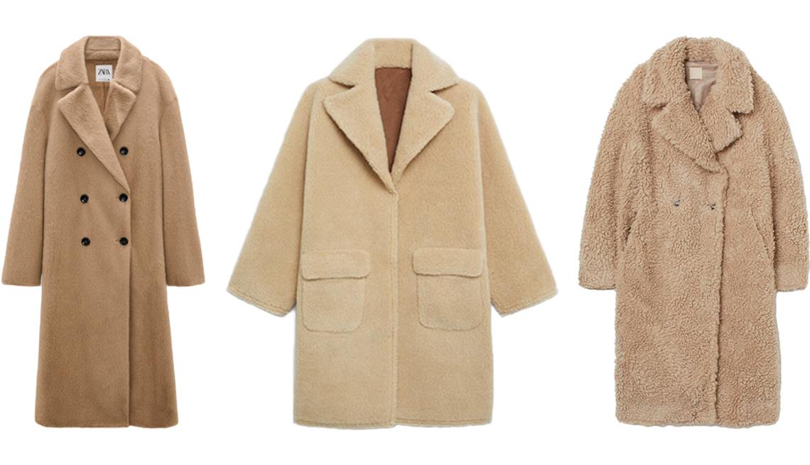 item 7 of Gallery image - Zara Faux Fur Wrap Coat in taupe brown; Mango Reversible Faux Shearling-Lined Coat in beige; H&M Wool-Blend Faux Shearling Coat in beige