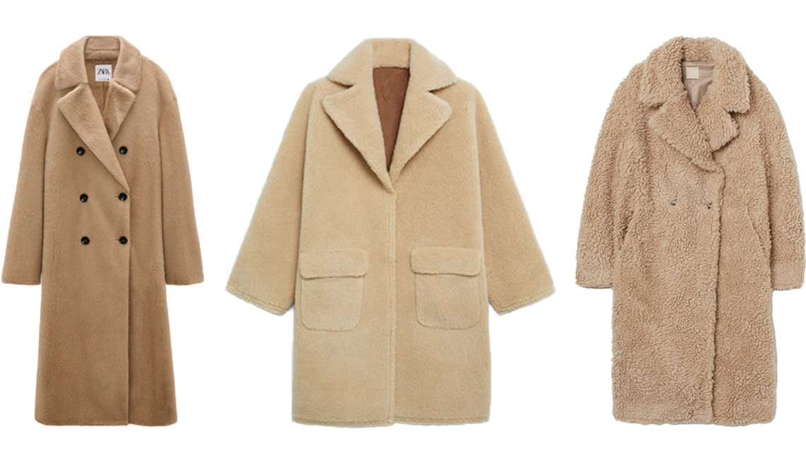 item 7, Gallery image. (Left to right) Zara Faux Fur Wrap Coat in taupe brown; Mango Reversible Faux Shearling-Lined Coat in beige; H&M Wool-Blend Faux Shearling Coat in beige
