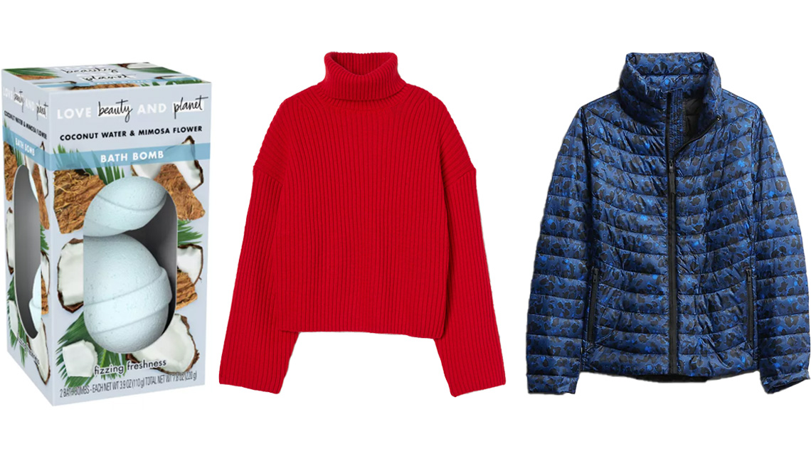 item 4, Gallery image. (Left to right) Love Beauty and Planet Coconut Water & Mimosa Flower Fizzing Freshness Bath Bombs; H&M Conscious Ribbed Turtleneck Sweater in red; Gap Upcycled Lightweight Puffer Jacket in blue cheetah print