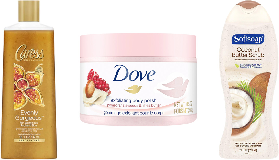 item 5 of Gallery image - Caress Exfoliating Body Wash Evenly Gorgeous; Dove Exfoliating Body Scrub in Pomegranate & Shea Butter; Softsoap Exfoliating Body Wash Scrub Coconut Butter
