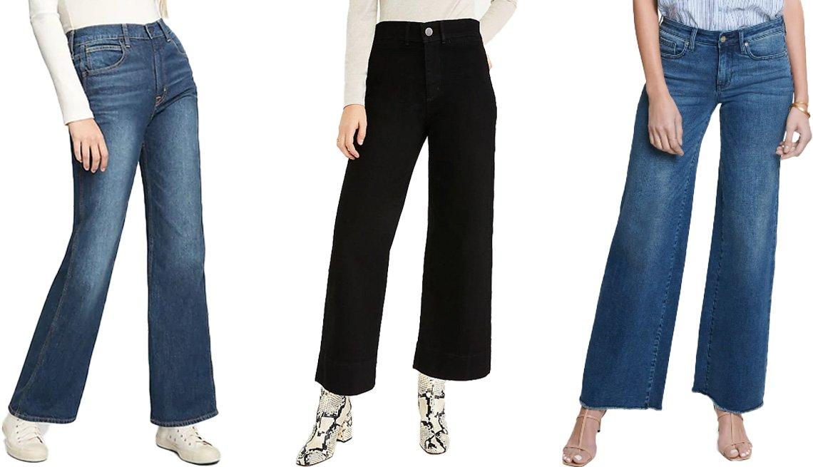 item 9, Gallery image. (Left to right) Gap High Rise Vintage Flare Jeans in dark indigo; Ann Taylor Sculpting Pocket High Rise Wide Leg Jeans in jet black wash; NYDJ Teresa Fray Hem Wide Leg Jeans in lazaro