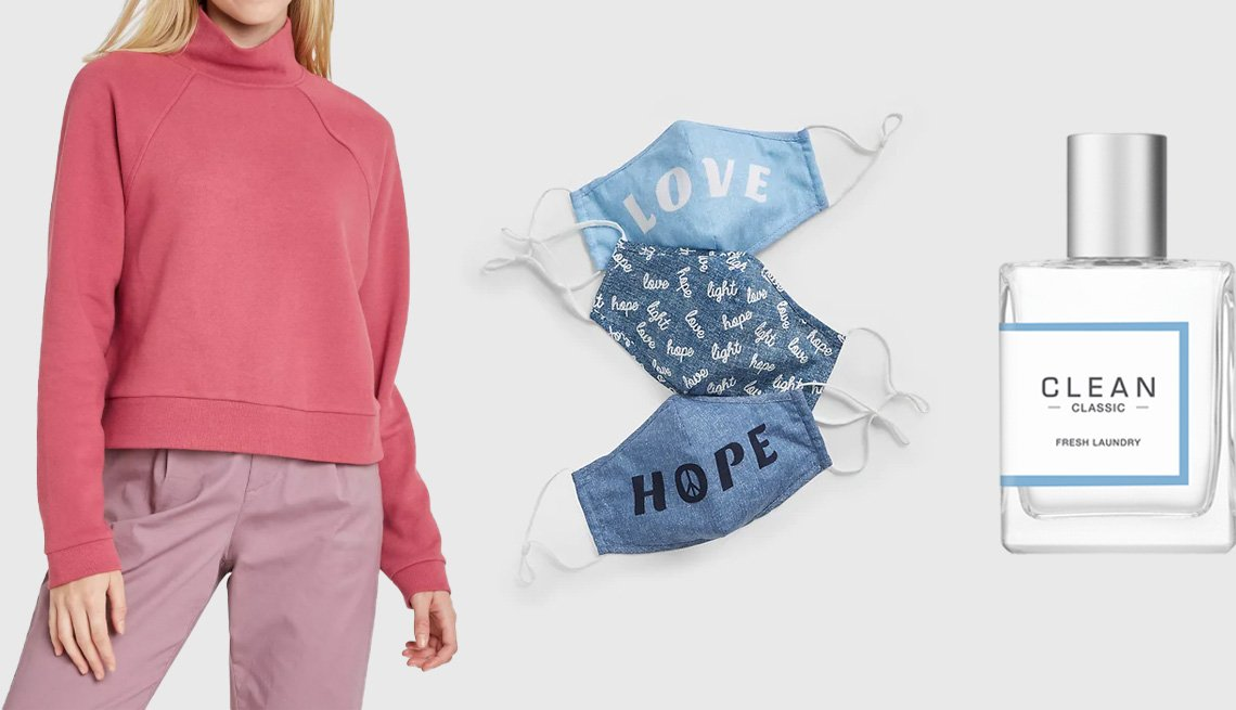 item 7 of Gallery image - A New Day Women's Fleece Pullover Sweatshirt in rose; Gap Adult Statement Contour Mask with Filter Pocket 3-Pack in multiblue; Clean Classic Fresh Laundry Eau de Parfum Spray