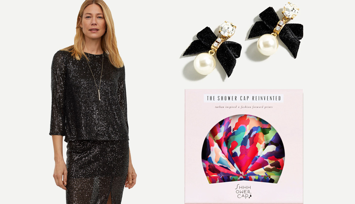 item 11, Gallery image. (Clockwise from left) H&M 3/4 Sleeve Top in black/sequins; J.Crew Festive Bow Pearl Earrings; Shhhowercap The Fetti