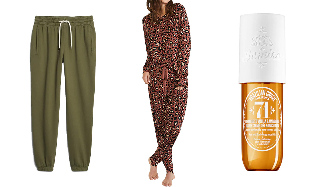 item 3, Gallery image. (Left to right) Gap Vintage Soft Classic Joggers in olive green; Ann Taylor Cheetah Print Pajamas in russet brown; Sol de Janeiro Cheirosa '71 Body Mist